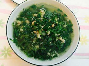 Rau mầm cải xanh nấu tôm 01